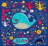 与鲸鱼的动画片例证 库存图片
