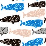 与鲸鱼的无缝的样式 织品的,纺织品幼稚纹理 向量背景 库存图片