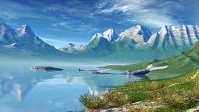 与鲸鱼的风景 免版税库存照片