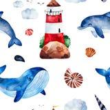 与鲸鱼,dolphinseashells,灯塔的水彩无缝的样式和更 皇族释放例证