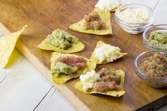 与鳄梨调味酱捣碎的鳄梨酱和辣调味汁垂度的玉米片 图库摄影