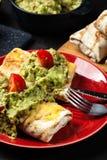 与鳄梨调味酱捣碎的鳄梨酱垂度的墨西哥chimichanga 免版税图库摄影