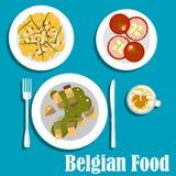 与鳗鱼鱼和热的沙拉的比利时烹调 免版税库存照片