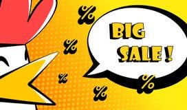 与鸟、百分之和文本大销售的愉快的雄鸡年卡片 漫画样式 库存图片