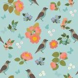 与鸟、蝴蝶和花的浪漫无缝的样式 免版税库存照片