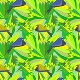 与鸟和叶子的无缝的绿色抽象样式 隐藏的搜索迷宫照片蛇向量 免版税图库摄影