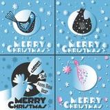 与鸟和圣诞快乐的明信片 免版税库存图片