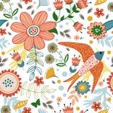 与鸟和开花的五颜六色的无缝的样式 免版税库存照片
