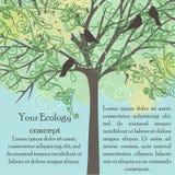 与鸟和开花的树的卡片 图库摄影