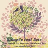 与鸟和开花的树的卡片 免版税图库摄影