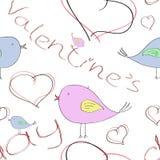 与鸟和心脏的无缝的样式为华伦泰` s天 免版税库存照片