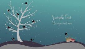 与鸟和礼物的逗人喜爱的圣诞卡 图库摄影