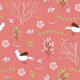 与鸟和花卉元素的无缝的样式 库存照片
