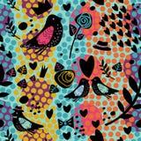 与鸟和花的无缝的样式 免版税库存照片