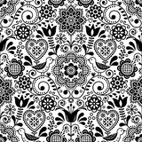 与鸟和花,斯堪的纳维亚黑白反复花卉设计的无缝的民间艺术传染媒介样式 免版税库存图片