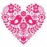 与鸟和花-桃红色设计,被启发的芬兰语的斯堪的纳维亚民间样式-华伦泰` s天或生日贺卡 库存照片