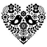 与鸟和花-芬兰启发,华伦泰` s天的民间艺术样式 库存例证