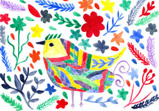与鸟和flowe的水彩抽象现代生动的背景 库存图片