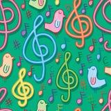与鸟水彩绿色无缝的样式的音乐 向量例证