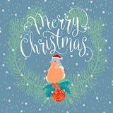 与鸟的圣诞快乐 免版税库存图片