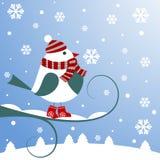 与鸟的圣诞节背景 免版税库存照片