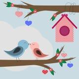 与鸟的愉快的情人节卡片 库存照片