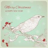 与鸟的手拉的圣诞节贺卡坐枝杈 免版税库存照片