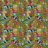 与鸟的无缝的样式,叶子和花纺织品的设计 库存图片