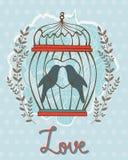 与鸟的美丽的爱卡片在笼子 免版税库存图片