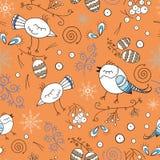 与鸟的花卉无缝的样式在森林手拉的鸟和植物中 孩子的传染媒介样式 五颜六色的橙色背景 免版税库存照片