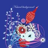 与鸟的花卉背景 库存图片