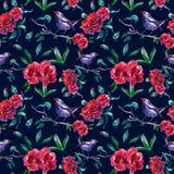 与鸟的葡萄酒英国兰开斯特家族族徽无缝的样式在树枝 在黑暗的背景的摘要庭院花卉图案墙纸的,卡片 库存例证