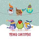 与鸟的逗人喜爱的圣诞卡 向量例证
