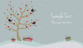 与鸟的逗人喜爱的圣诞卡 免版税库存照片