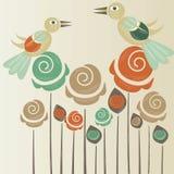 与鸟的逗人喜爱的玫瑰 库存图片