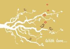 与鸟的金黄'与爱'贺卡 图库摄影