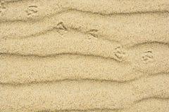 与鸟脚印的沙子纹理  免版税库存图片