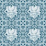 与鸟菲尼斯的阿拉伯蓝色无缝的样式 皇族释放例证
