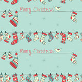 与鸟,袜子,露指手套的圣诞节无缝的样式 免版税库存照片