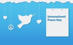 与鸠,国际天的平的横幅和平设计例证 库存图片