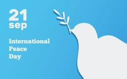 与鸠,国际天的平的横幅和平设计例证 免版税库存照片