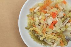 与鸡、土豆、红萝卜和葱的通心面汤 免版税库存照片