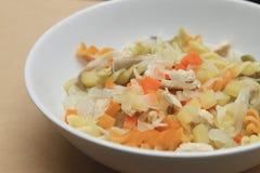 与鸡、土豆、红萝卜和葱的通心面汤 免版税库存图片
