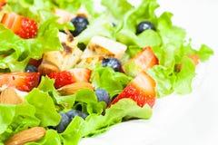 与鸡、杏仁和莴苣的莓果沙拉 库存照片