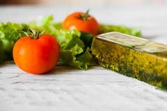 与鸡、葡萄柚、乳酪和蕃茄的沙拉 免版税库存图片