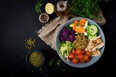 与鸡、蕃茄、黄瓜、莴苣、红萝卜、芹菜、红叶卷心菜和绿豆的健康沙拉在黑暗的背景 免版税库存照片