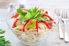 与鸡内圆角,辣椒粉,乳酪,鸡蛋,葱的鸡丁沙拉,服务用酸奶 概念吃健康 简单烹调 库存照片