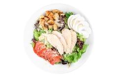 与鸡内圆角,鸡蛋,西红柿,在白色背景隔绝的一块白色板材的白色多士的凯萨色拉 免版税库存照片