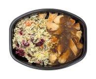 与鸡和小汤结冰的快餐的米 免版税库存图片