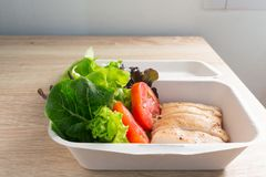 与鸡和蕃茄的沙拉 免版税库存图片